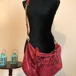 Badgley Mischka red leather crossbody purse